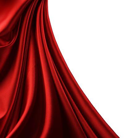 tissu soie: Border.Isolated de soie rouge sur blanc