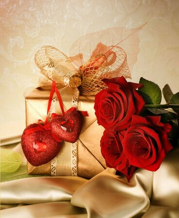 hearts and roses: Wedding or Valentine Gift Stock Photo