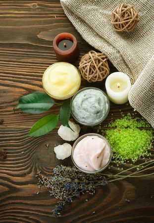 cosmetic cream: Natural Spa Cosmetics Stock Photo
