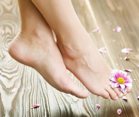 pied jeune fille: Belle femme pieds avec le concept de flower.Spa ou pedicure
