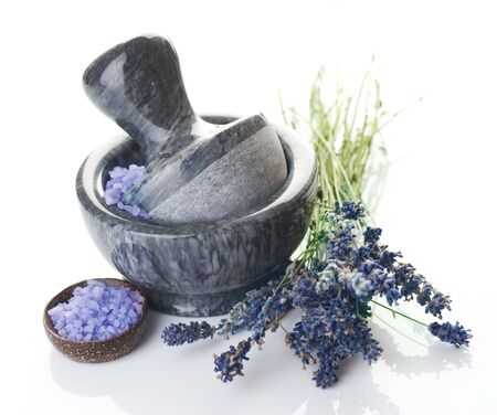 Herbal Medicine concept.Mortar and Herbs photo