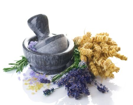 smells: Herbal Medicine concept.Mortar and Herbs Stock Photo