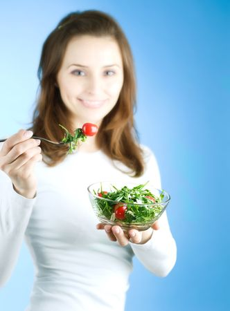 Dieting Concept.Happy Young Woman eating vegetable salad Stock Photo - 7861957