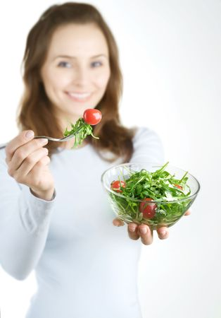 Dieting Concept.Happy Young Woman eating vegetable salad Stock Photo - 7861958