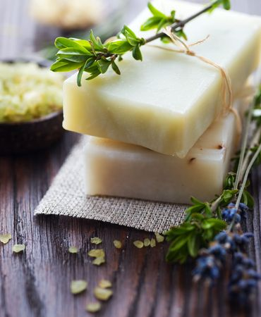 natural soap: Natural Soap with herbs Stock Photo