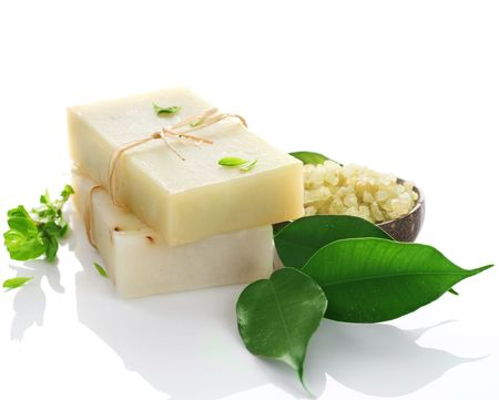 beauty product: Handmade Soap over white.Natural ingredients