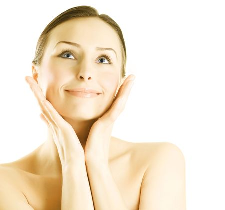 Happy Young Woman touching her Face.Perfect skin concept Stock Photo - 7802519