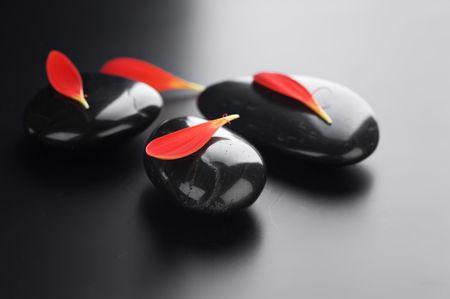 Zen Spa Stones over black.With copy space Stock Photo - 7861967