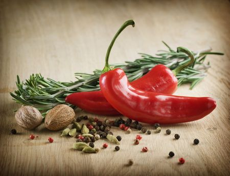 red indian: Spices on a wooden background Stock Photo