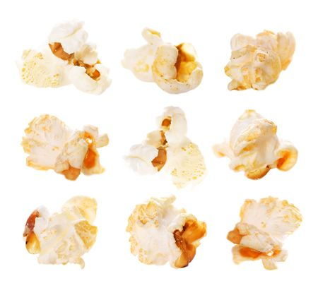 corn kernel: Popcorn. Isolated on white Stock Photo