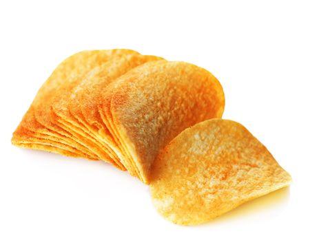 Potato Chips over white photo