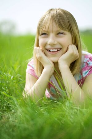 Happy Little Girl outdoor Stock Photo - 6987795