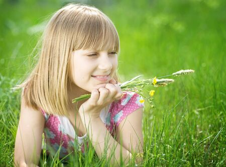 Beautiful Happy little Girl outdoor Stock Photo - 6987799