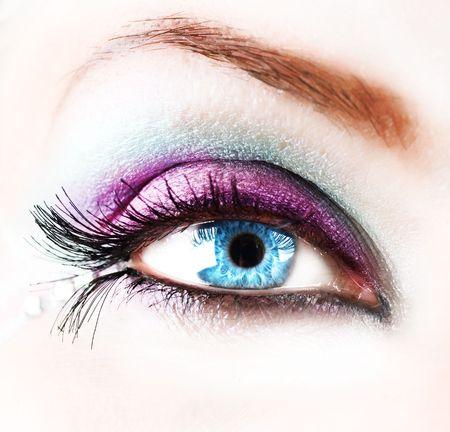 art processing: Beautiful abstract woman Eye closeup