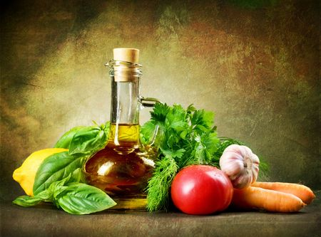 Healthy Vegetables and Olive Oil.Vintage Styled photo