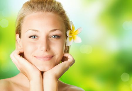 body spa: Spa Girl over nature background  Stock Photo