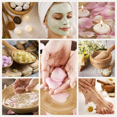 masajes faciales: Collage de Spa hermoso  Foto de archivo