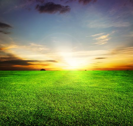 countryside background: Green Field and Beautiful Sunset