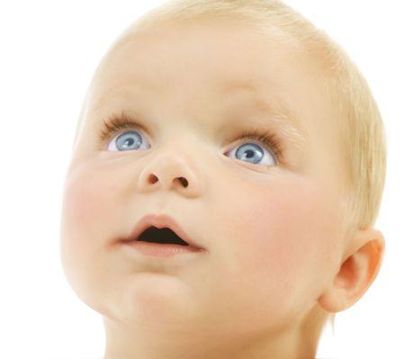 nappy new year: Baby Face Stock Photo