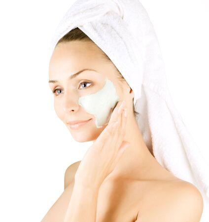 얼굴 표정:  Spa Facial Mask.Day-spa 스톡 사진