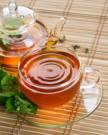 chinese teapot: Healthy Tea with Mint Stock Photo