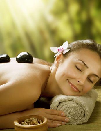 Spa outdoor.Stone Massage Stock Photo - 7414899