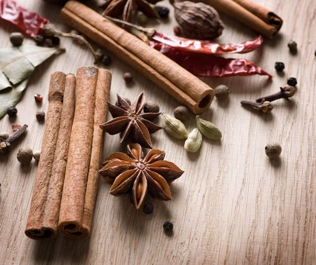 seasonings: Various Spices background  Stock Photo