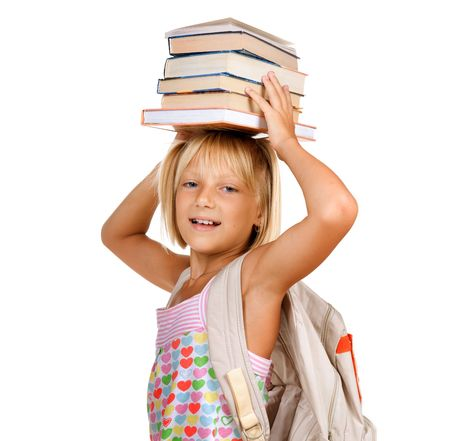 Education Concept. Happy School girl with books  photo
