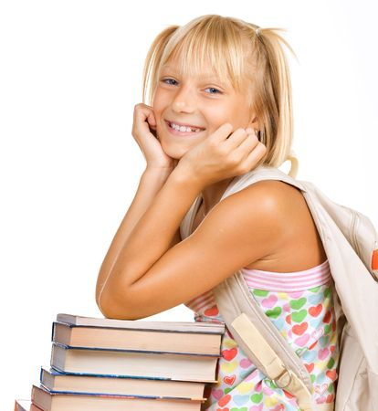 kid sitting: Education Concept. Happy School girl with books