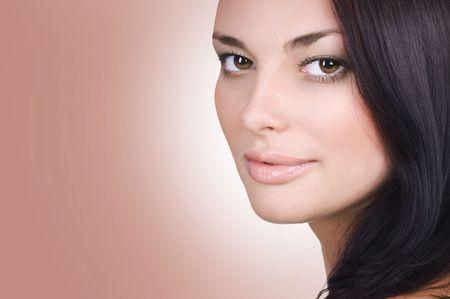 Beautiful Young Woman Face. Perfect Skin photo