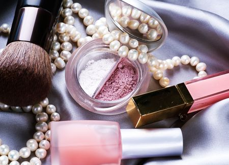 Make-up.Makeup accessories background Stock Photo - 7683095
