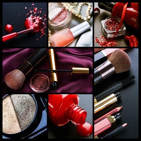 productos de belleza: Collage de maquillaje profesional