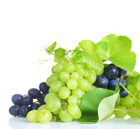 grapes on vine: Grapes border isolated on White Stock Photo