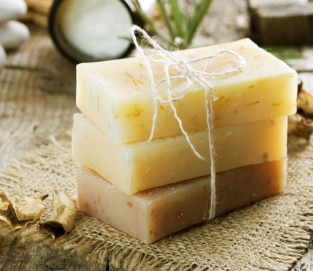 vertical bar: Handmade Soap closeup.Spa products  Stock Photo