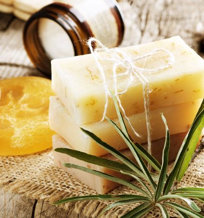 natural product: Handmade Soap border.Spa products Stock Photo