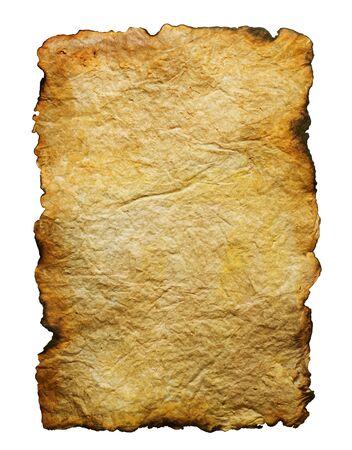 papel quemado: Libro antiguo aislado en blanco  Foto de archivo