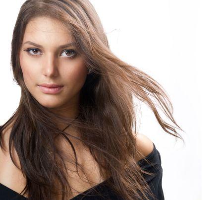 brown: Beautiful Healthy Girl portrait Stock Photo