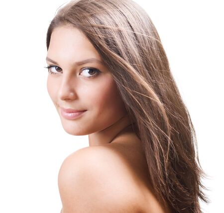 clean skin: Beautiful Healthy Girl portrait Stock Photo
