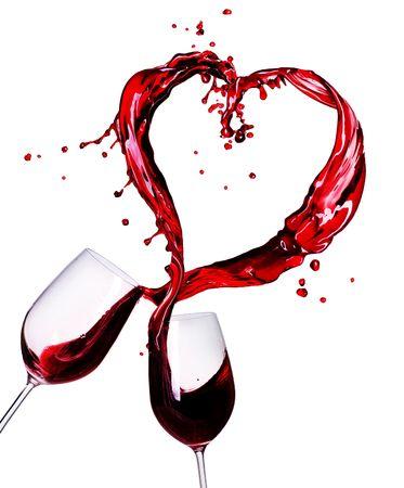 copa de vino: Dos copas de vino rojo abstracto Splash de coraz�n
