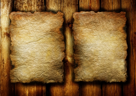 burnt wood: Old Papers sheet over wooden background