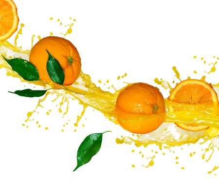 Orange juice isolated on white photo