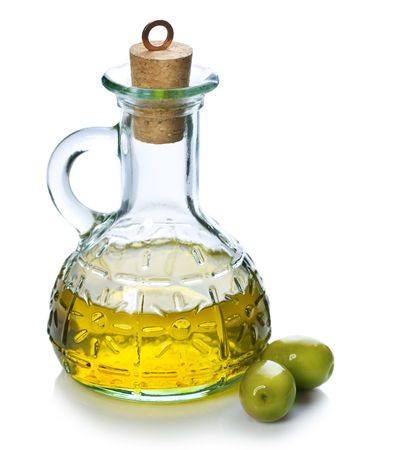 Olive Oil with Olives over white photo