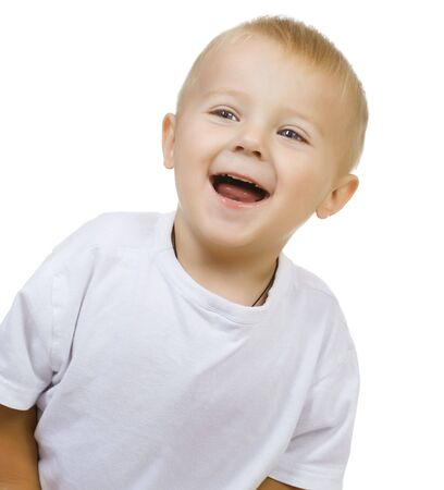 nappy new year: Happy Cute Baby Boy over white  Stock Photo