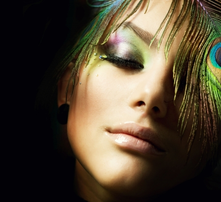 Creative Fashion peacock Make-up Stock Photo - 8721914