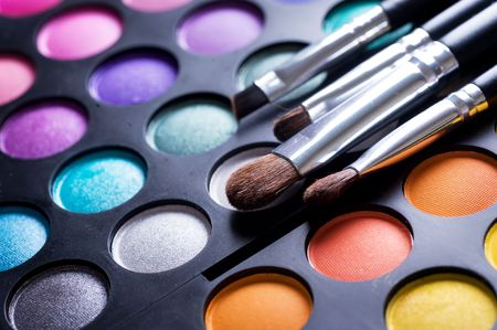 paleta de pintor: Paleta de sombras profesional de maquillaje Foto de archivo