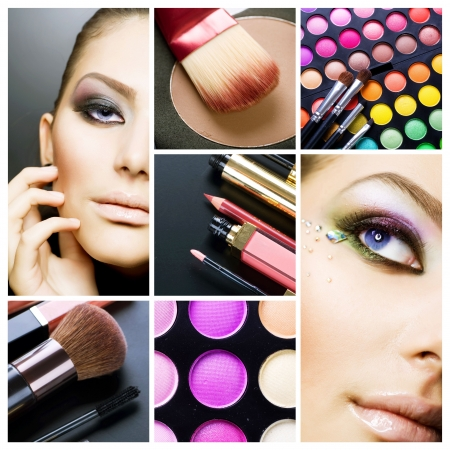 collages: Makeup. Beautiful Make-up collage Stock Photo