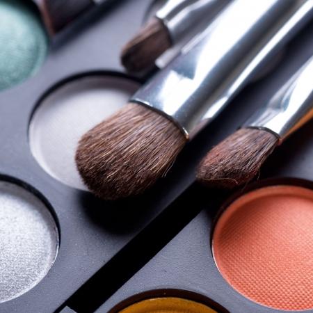Makeup brushes and make-up eye shadows Stock Photo - 9367500