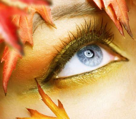 cejas: Oto�o maquillaje de ojos Foto de archivo