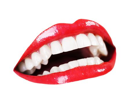 perfect teeth: Beautiful Smile. Healthy Teeth over white Stock Photo
