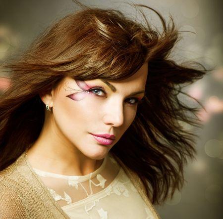 Beautiful Fashion Girl portrait. Makeup Stock Photo - 9367523